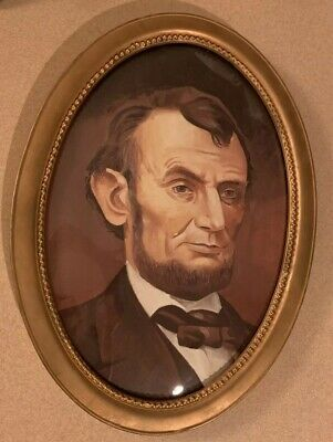Vintage Abraham Lincoln Portrait Curved Glass Frame