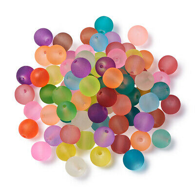 100PCS Transparent Frosted Glass Beads Round Smooth Beads Jewelry Making 4~6mm
