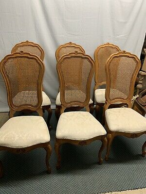 Six Vintage Thomasville French Country Provincial Cane White Dining Room Chairs