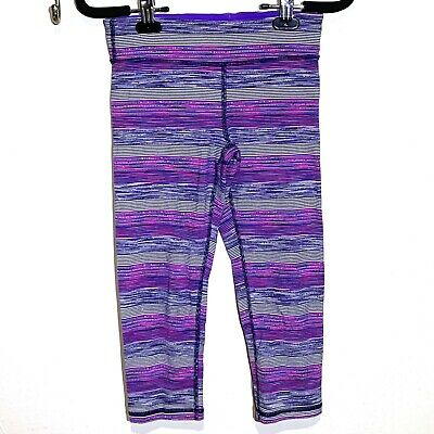 Girls' Ivivva Purple Striped Crop Leggings Size 12