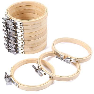 10Pcs Handcraft Embroidery Circle Bamboo Hoops Cross Hoop Ring Support Aid Tool