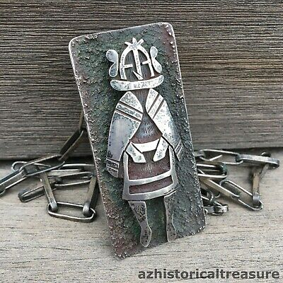 HOPI STERLING SILVER OVERLAY KACHINA PENDANT NECKLACE by WATSON HONANIE