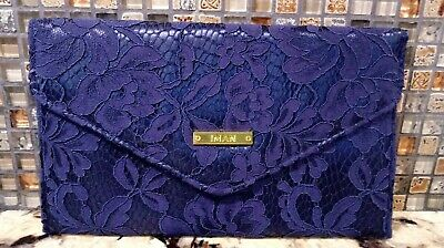 IMAN Blue Envelope Clutch Floral Lace Satin Pocket Magnetic Snap