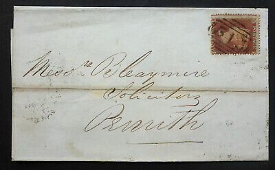 """Great Britain (C9)1858 Ja 2  Penny Star Cover  """"Penrith/Newcastle On Tyne """" Canc"""