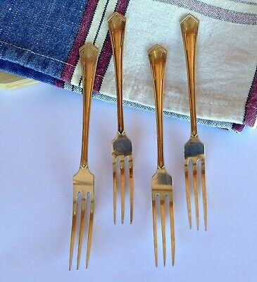 Cake Forks Vintage 1930s X 4 Made In England EPNS Classic Art Deco Design