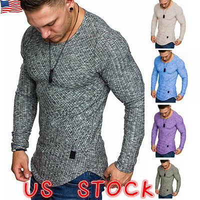 Summer Mens Slim Fit Long Sleeve T Shirt Designer Muscle Fitted Top Gym Tee US