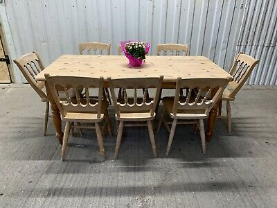 6ft Vintage Solid Pine Farmhouse Dining Table And 8 Country Kitchen Chairs