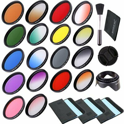 18pcs Filter Kit 77mm Full Color Filter & Graduated Color Filter For Camera Lens