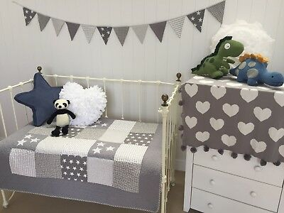 Lachlan Grey Cotton Quilted Stars Cot Quilt Boys Girls Hamptons Nursery Blanket