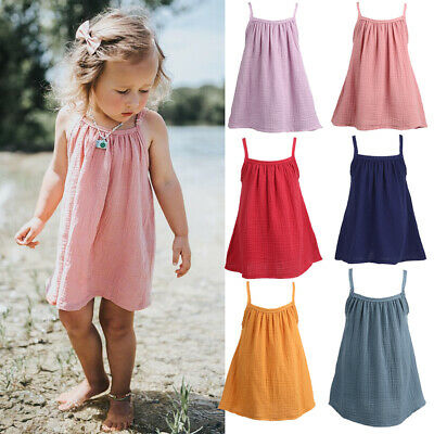 Cute Toddler Baby Girl Cotton Linen Casual Sling Dress Sundress Clothes set