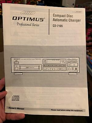OPTIMUS CD-7105 Automatic Compact Disc Changer INSTRUCTION MANUAL 1993