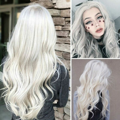 UK Womens Silver White Long Curly Wigs Ladies Full Wavy Hair Party Cosplay Wig