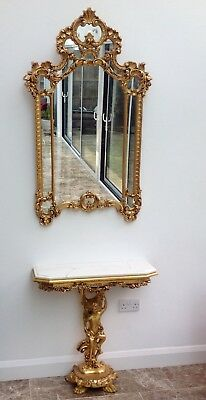 French / Italian Antique Marble  CONSOLE TABLE with MIRROR