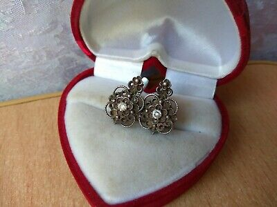 RAR old antique Beautiful Vintage earrings white stone SILVER Soviet stamp USSR