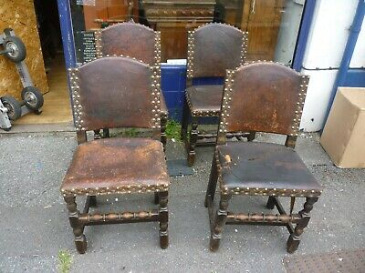 Set Of Four Antique Oak Leather Medieval Style Dining Chairs For Restoration