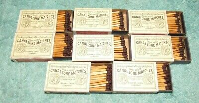 Lot of 8 Vintage Panama Canal Zone Matchbox Damp Proof Matches, Made in Sweden