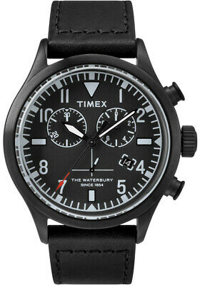 TIMEX + TODD SNYDER Red Wing Leather Watch The Waterbury Chronograph Black NEW!
