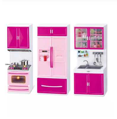 Children Kitchen Toy Set Cooking Cabinet Tableware Tools Doll Playhouse Kid Toys