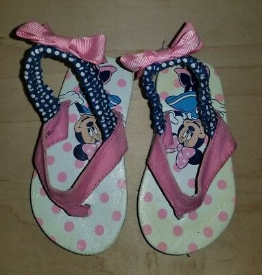 Disney Minnie Mouse Baby Girls Flip Flops Sandals 12-18 Months Pink Ankle Strap