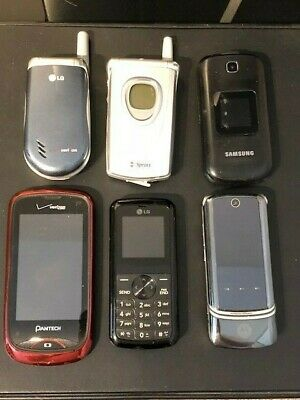 Lot Of 6 Vintage Cell Phones, Motorola, Lg, Sprint, Samsung, Pantech & Motorola
