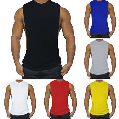 Mens Summer Muscle Sleeveless Shirt Tank Tops Tee Sport Fitness Gym Vest T-Shirt