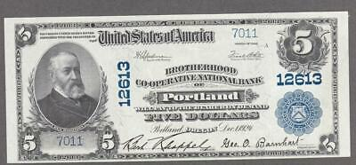 1902 Pb National Banknote, Portland, Oregon, Charter #12613 About Uncirculated