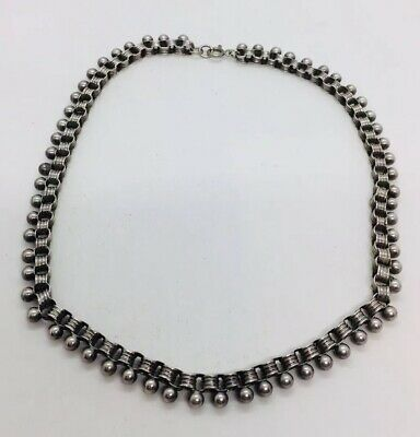 Antique Victorian Sterling Silver Book Chain Ball Link Necklace