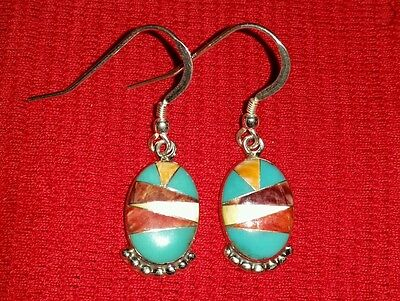 NAVAJO VERNON HASKIE VH STERLING MULTI GEM INLAY EARRINGS Fine 925 Southwestern