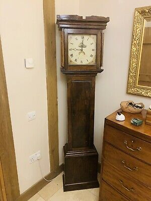 Antique 19thC English Mahogany 8 Day Longcase Grandfather Clock