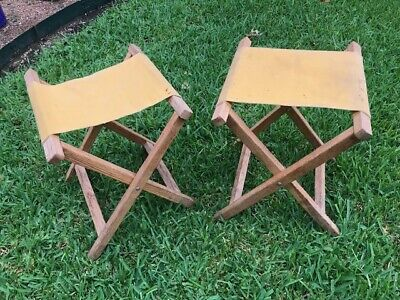 Magnificent Vintage Yellow Canvas Wood Camping Camp Stools Chairs Bralicious Painted Fabric Chair Ideas Braliciousco