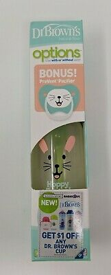 NEW Dr Browns Easter Edition Natural Flow Options Bottle 8oz +PreVent Pacifier