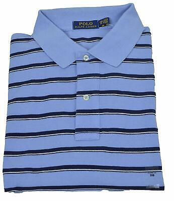 Polo Ralph Lauren Mens Light Blue Striped Cotton Polo Shirt BIg Tall 2XB 3913-3M
