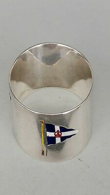Solid silver napkin ring leaning ships funnel shape with enamel insignia flag