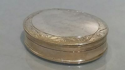 Oval silver pill box border pattern tight closure ideal pill box hallmarked