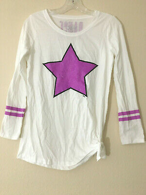 Justice Dance Top White/Lge Purple Sequin Star 3/4 sl/Tie side 12   Free Ship