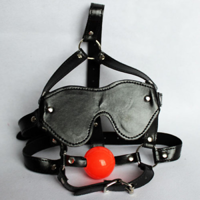 Slave Open Mouth Gag Blinder PU Leather Head Harness Eye Mask Restraint Roleplay