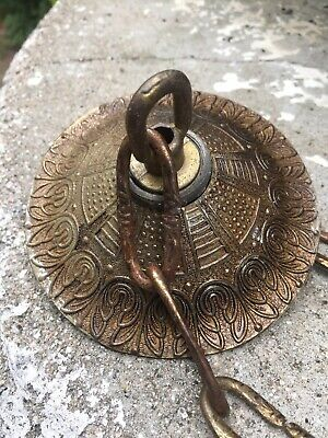 Classic Old Brass Chandelier Ceiling Cap Canopy + Chain Ready To Go OLD PATINA