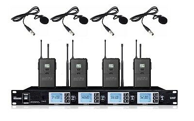 4 Wireless Microphone System Cordless Microphone set with Lavalier Lapel Mics