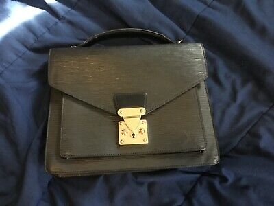 Authentic Louis Vuitton monceau vintage bag  purse epi black