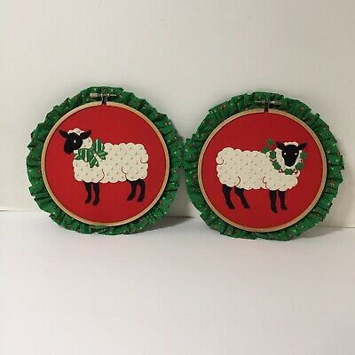 """2 Sheep Finished and Framed Embroidered 8"""" Hoops"""