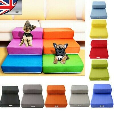 Non-Slip Portable 3 Steps Pet Dog Stairs Doggy Cat Ladder Ramp Washable UK STOCK