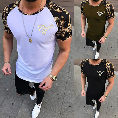 Men's Slim Fit O Neck Short Sleeve Muscle Tee Shirts Casual T-shirt Tops Blouse
