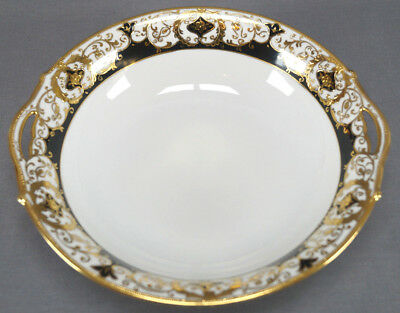 Nippon Hand Painted Black & Gold Scrollwork Moriage Large Bowl Circa 1911 - 1921