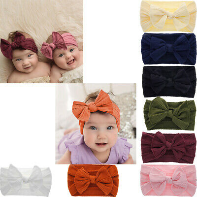 Newborn Toddler Kid Baby Girls Cute Bow Turban Headband Headwear Accessories