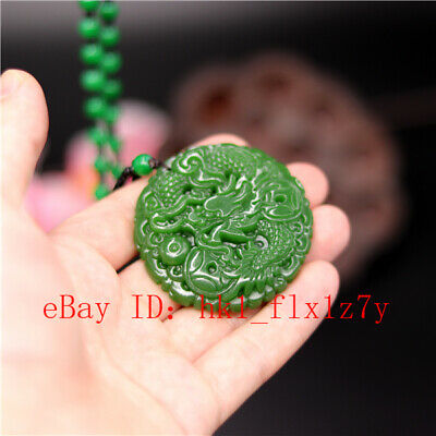 Dragon Carved Green Jade Pendant Necklace Fashion Charm Jewelry Amulet Gifts