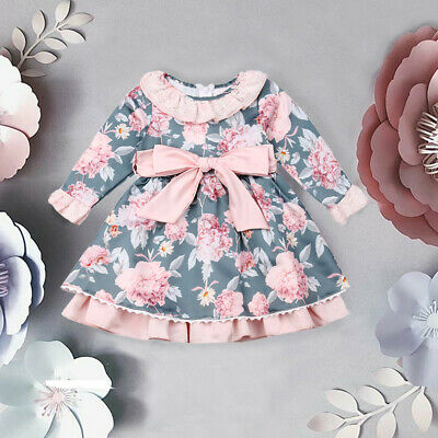 AU Toddler Baby Girl Floral Long Sleeve Tutu Dress Princess Party Dress Clothes