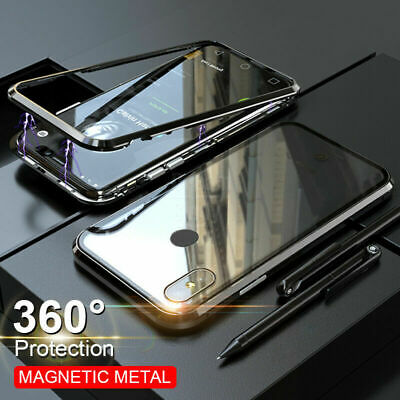 Magnetic Adsorption Metal Case Fits For Xiaomi Redmi Note 7 Tempered Glass Cover