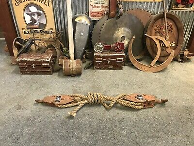 Vintage Industrial Rustic Farm Block & Tackle Pulley Set Theatre Prop Man Shed
