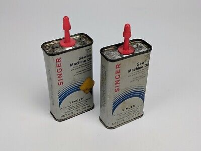 Lot of 2 Vintage Singer Sewing Machine Oil Cans 4oz - No. 2131