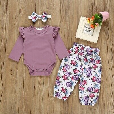 AU Newborn Infant Baby Girl Flower Outfit Clothes Romper Top+Pants+Headband Set